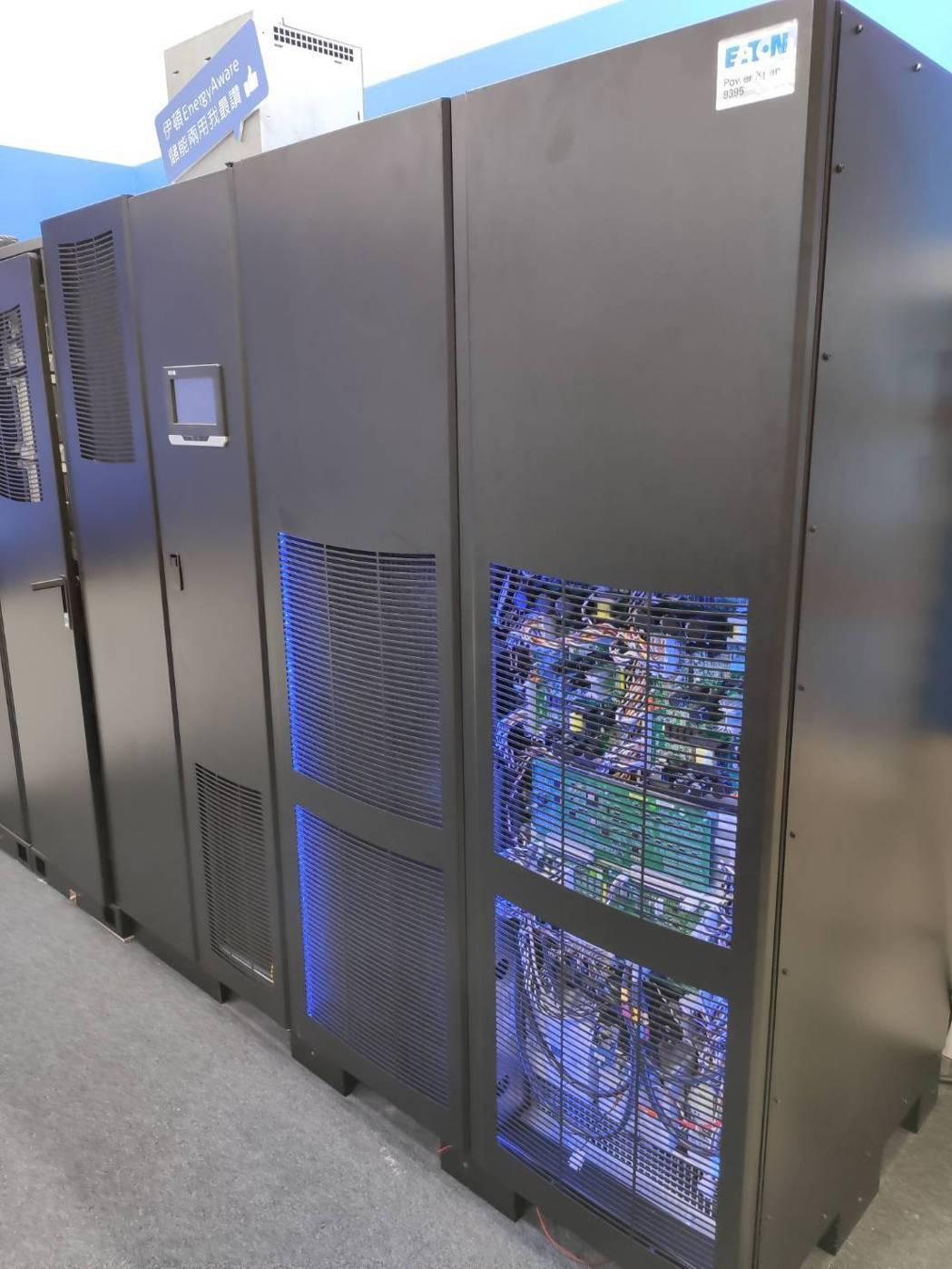 伊頓首次展出與全球同步技術EnergyAware關鍵電力保護儲能兩用系統。記者張...