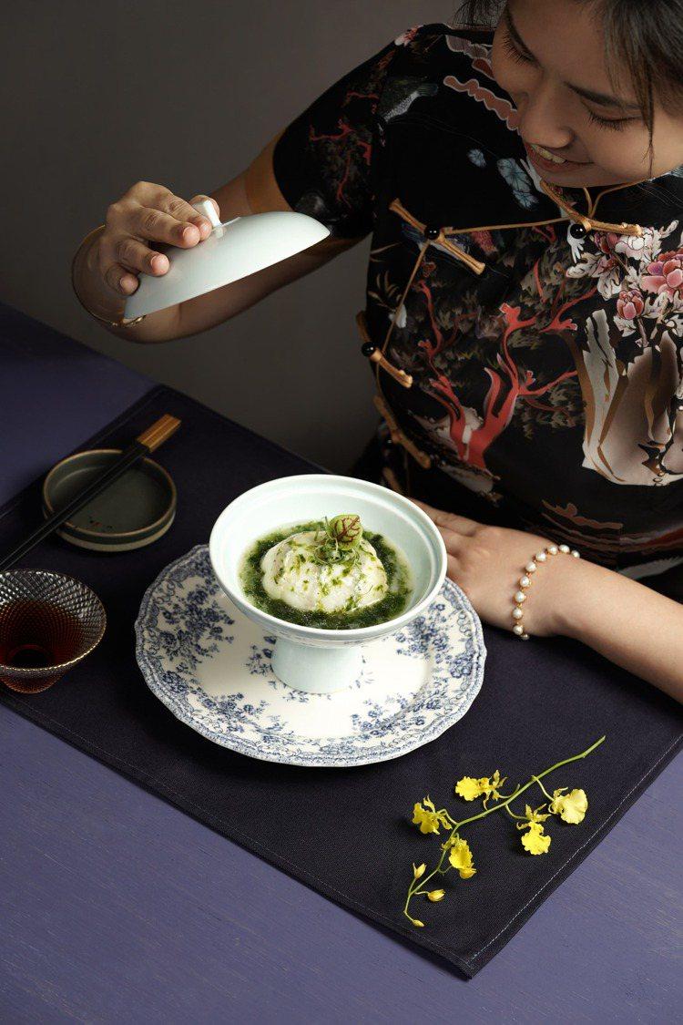 套餐中的「浮萍池浸珍珠斑」。圖/THE上海提供