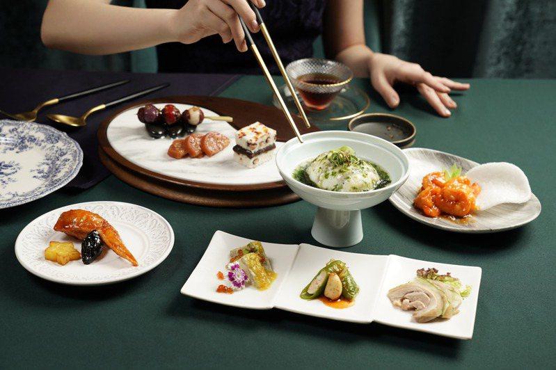 THE上海推出的「翡霞虹 旗袍文化饗宴」,規劃有10道式的個人套餐。圖/THE上海提供