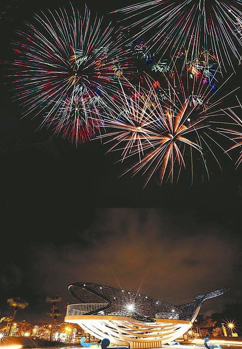 今年國慶焰火在台南市漁光島舉辦,26日晚間8點將進行800顆焰火、長約3分鐘的試放。圖/台南市政府提供