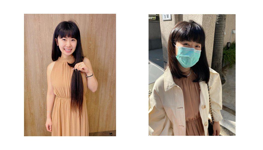 福原爱分享剪发前(左)后(右)照片。 图/撷自脸书
