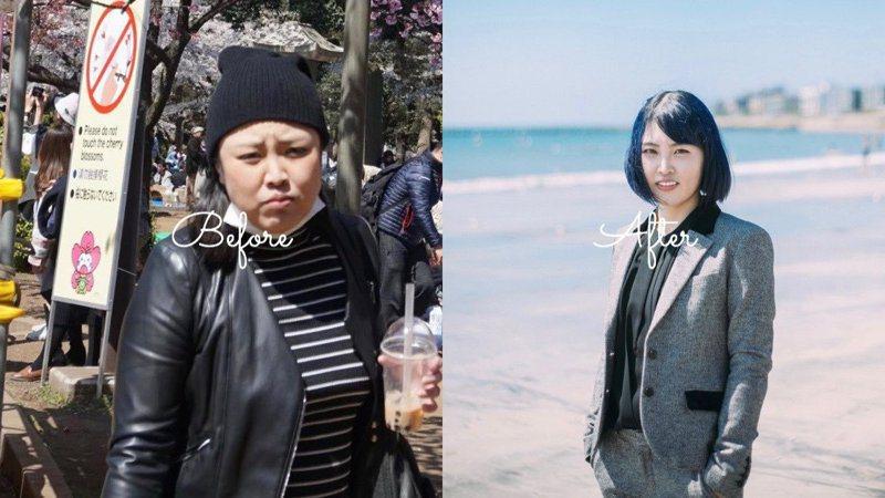 日本女網友ヤナマリ分享瘦身心得,圖左為一年瘦身前的照片,圖右為現今的照片。圖擷取自twitter