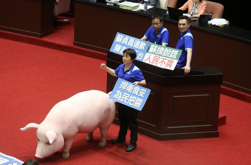 圖為國民黨團立委帶著美豬道具佔領議場抗議。記者胡經周攝影/