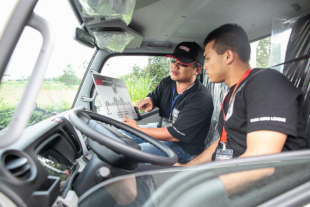 FUSO商用車安駕訓練營由專業資深教練一對一帶領學員克服各項關卡。 圖/DTAT...