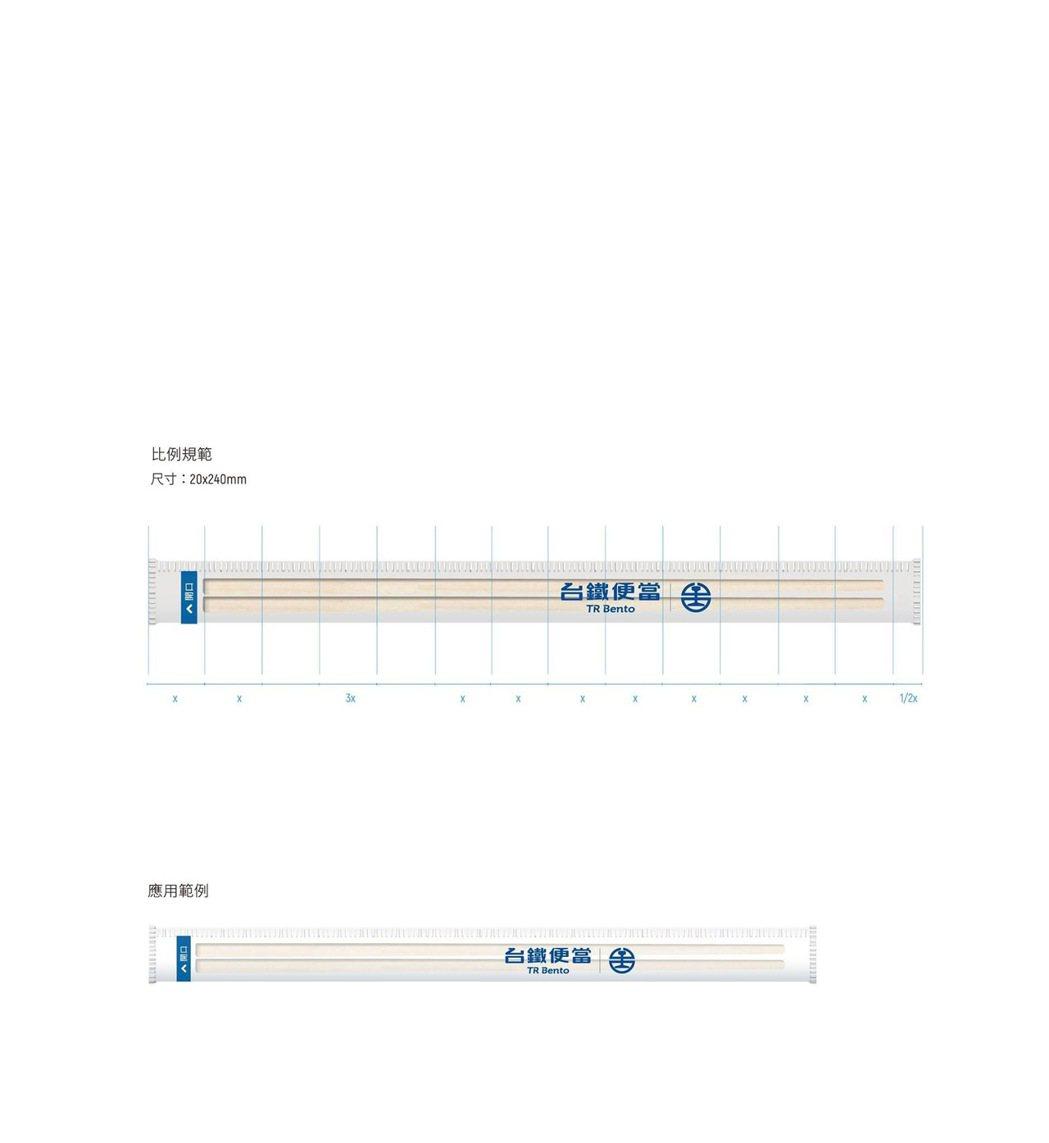 台鐵便當新商標放在筷子上的樣子。圖/取自台灣設計研究院臉書
