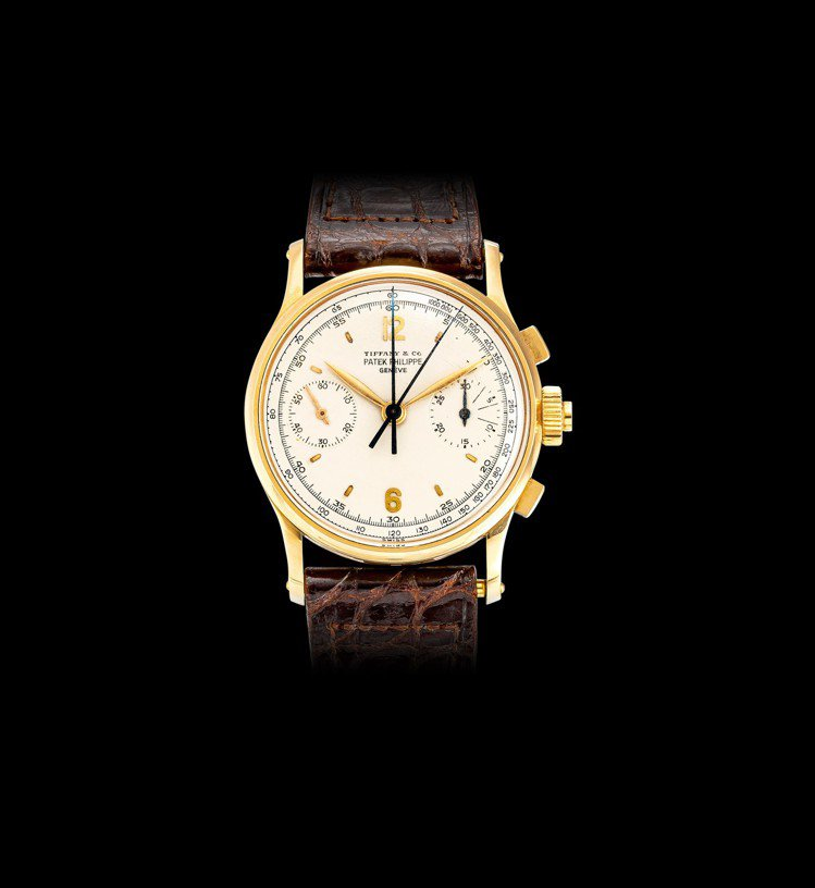 拍品編號2100百達翡麗型號1436非常精美及獨特黃金追針計時腕表,備有原裝盒子...