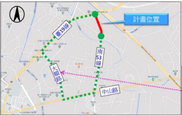 打通交通瓶頸,台南學甲南53線將拓寬,圖為預計拓寬位置圖。記者謝進盛/翻攝