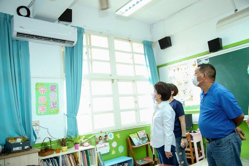台中市外埔區安定國小已完成教室冷氣裝設。圖/台中市政府提供