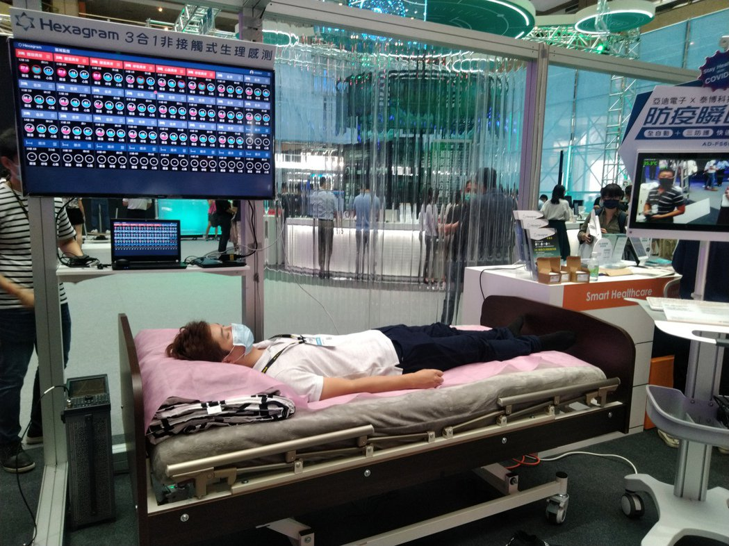 中小企業處輔導的亞迪電子展出非接觸式生理監測照護系統,一機整合體溫、心跳、呼吸量...