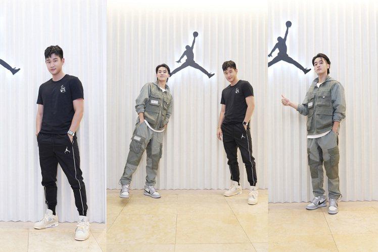 Jordan Brand首度進駐台中,打造全新大店,包括周興哲(黑衣)、吳思賢都...