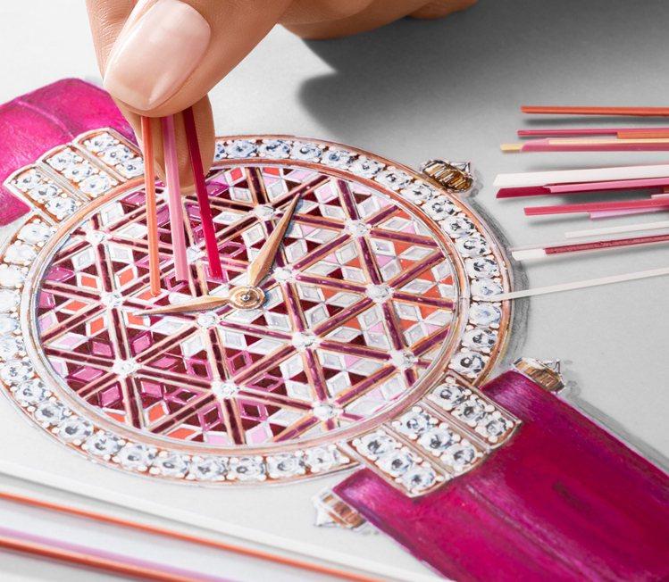 Premier系列擅長以各種技法呈現寶石的華美色彩,例如過往的馬賽克寶石鑲嵌工藝...
