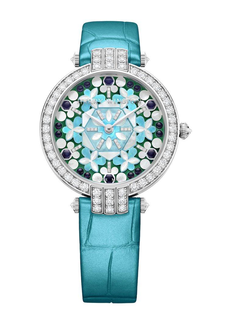 海瑞溫斯頓卓時Premier系列Kaleidoscope腕表,18K白金搭配淺藍...