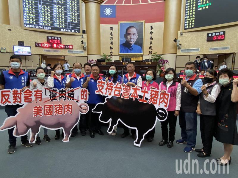 台南市議會國民黨團今天在議會定期大會上,準備支持本土豬、反對含瘦肉精美豬的看板。記者鄭維真/攝影