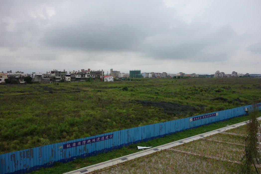 華泰名品城進駐前的樣子,野草遍佈可說相當荒涼。圖/華泰名品城提供