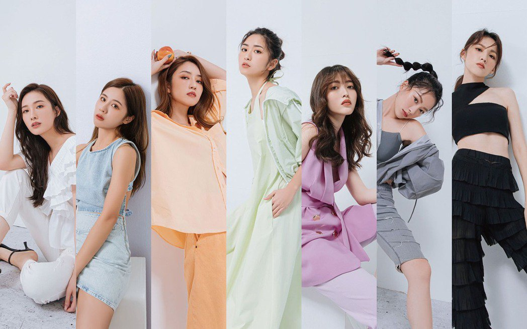 浪Live網紅藝人克萊兒(左起)、可頡、亭恩、Judy、薛薛、小涵、范范。圖/浪...