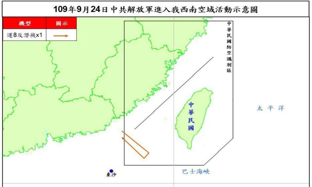 空軍司令部今晚表示,一架共軍運八反潛機今天進入我西南防空識別區(ADIZ)飛航,...