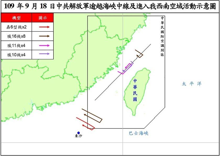 中共解放軍逾越海峽中線及進入我西南空域活動示意圖。 圖/國防部