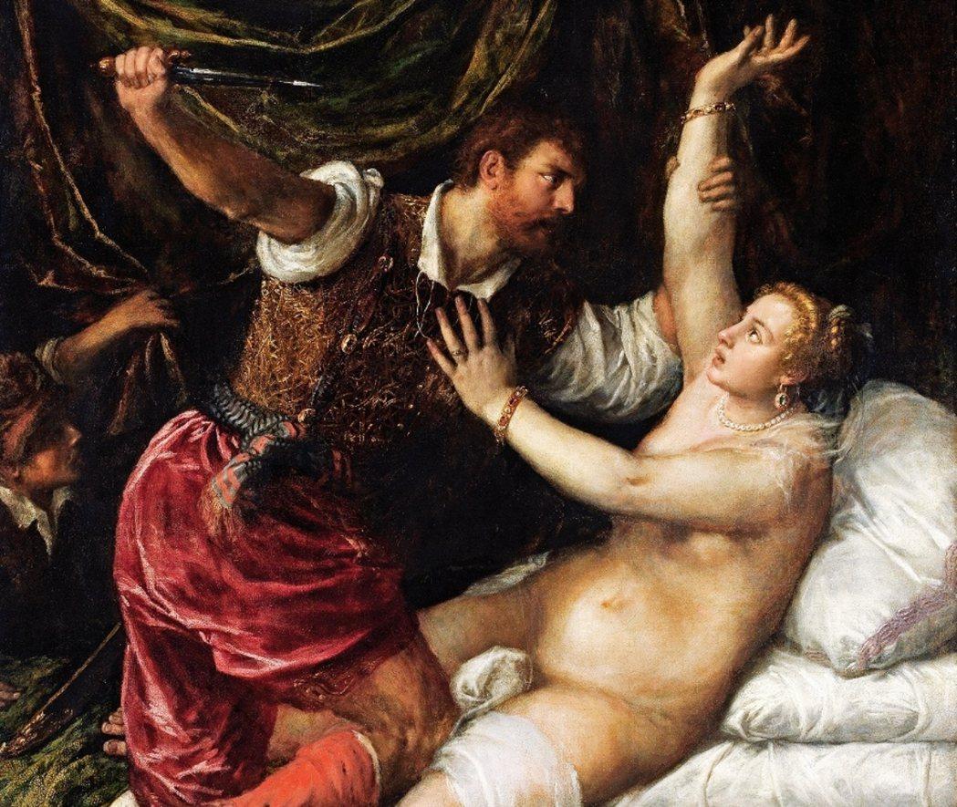提香描繪的〈塔克文與盧奎西雅〉(Tarquin and Lucretia)直接面...