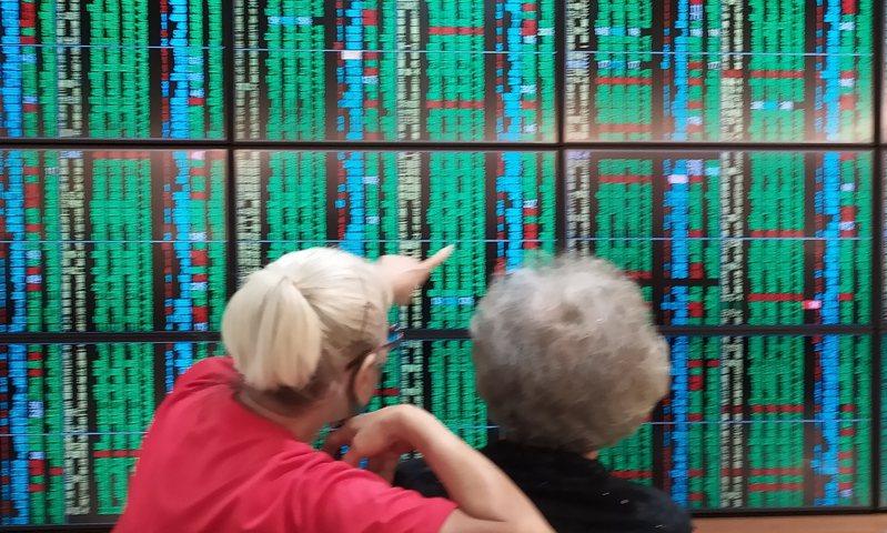 台股25日開高走低,早盤一度拉升至12,385.81點,終場以12,232.91點作收,下跌31.47點,成交量2,090.42億元;三大法人賣超57.04億元。 報系資料照/記者林俊良攝影
