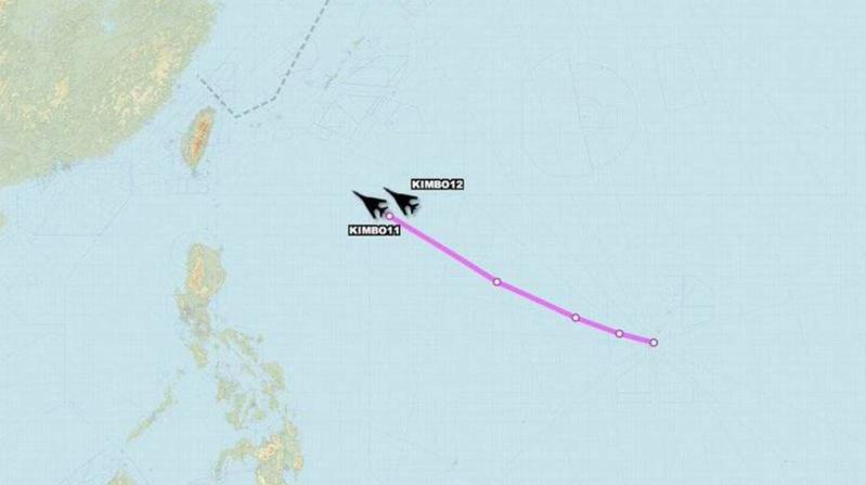 2架美國空軍B-1B轟炸機朝台灣方向前進。圖/取自Aircraft Spots推特