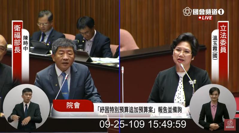 國民黨立委溫玉霞(右)質詢衛福部長陳時中(左)。圖/翻攝國會頻道