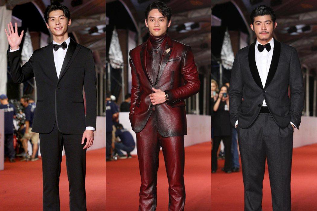 許光漢、范少勳、王柏傑出席第55屆金鐘獎紅毯。記者余承翰、葉信菉/攝影