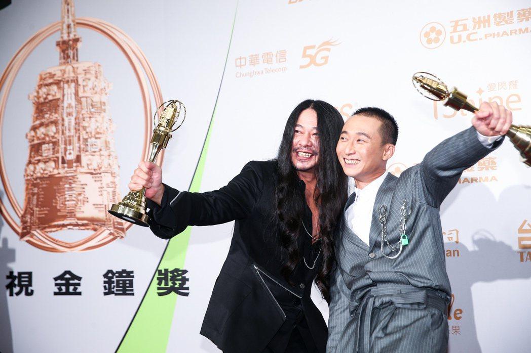 第55屆金鐘獎頒獎典禮在國父紀念館舉行,綜藝節目主持人獎由浩子(右)、亂彈阿翔(...