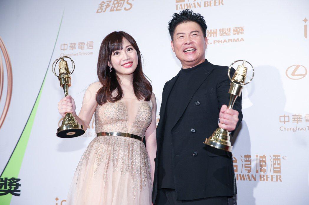 第55屆金鐘獎頒獎典禮在國父紀念館舉行,益智實境節目主持人獎由曾國城(右)、蔡尚