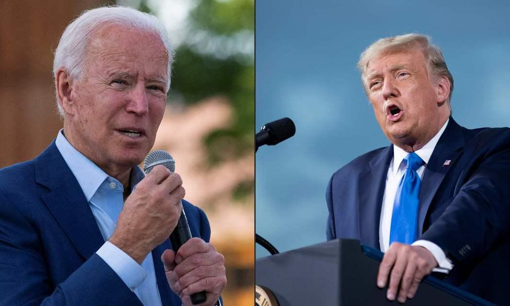 美國總統大選逼近,現任總統川普(右)將和民主黨候選人拜登在辯論會王見王。 圖/法...