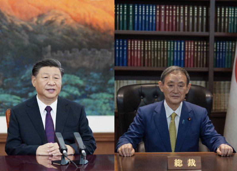 大陸國家主席習近平25日晚間與日本首相菅義偉通電話。新華社