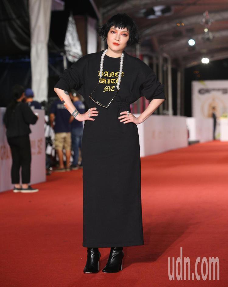 第55屆金鐘獎頒獎典禮在國父紀念館舉行,范曉萱走星光大道。記者余承翰/攝影