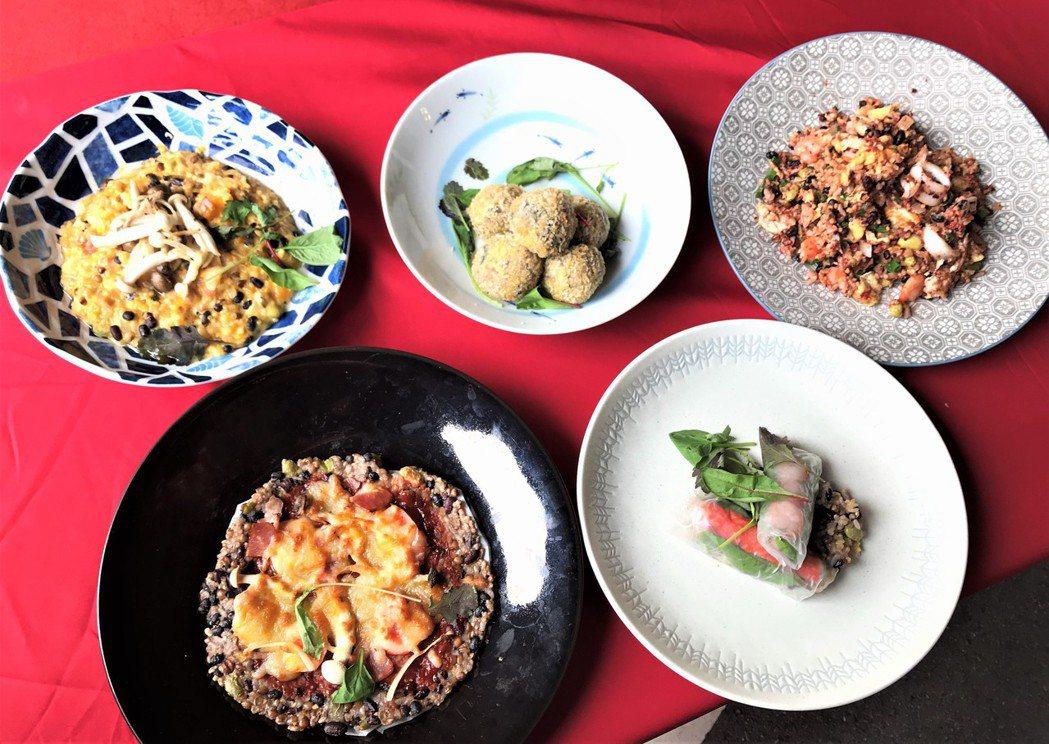 運用「五行雜糧飯」可變化出多款創意料理。記者李珣瑛/攝影