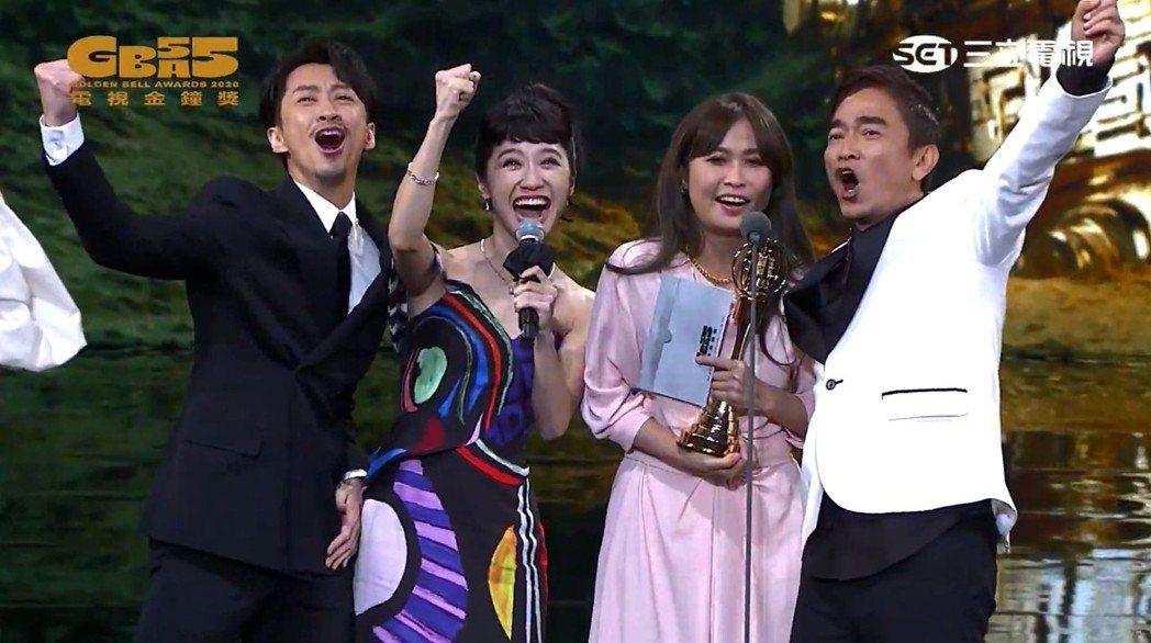 吳宗憲(右)與陳漢典(左)、Lulu黃路梓茵(左二)搭檔主持的「綜藝大熱門」拿下