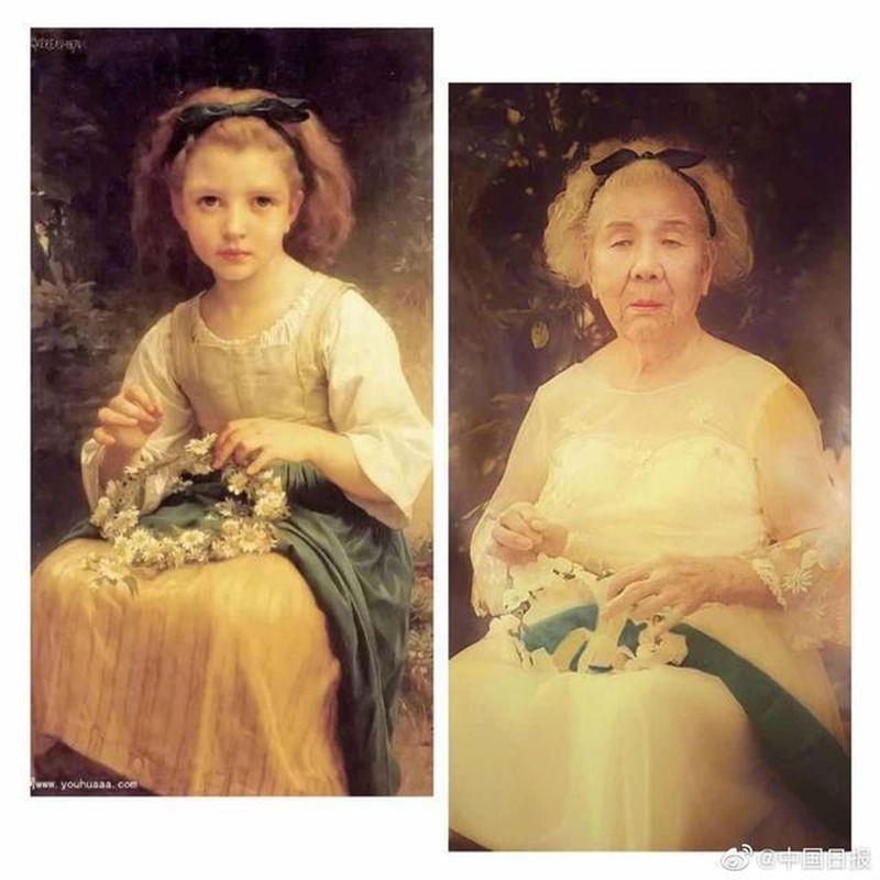 陳珠花在名畫「編花環的女孩」中,實現了92歲穿婚紗的夢想。 圖/取材自中國日報