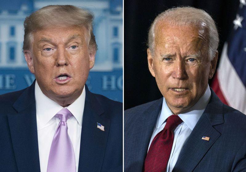 距離11月3日的美國總統大選僅剩5週,圖為現任總統川普與競選對手拜登(右)。 美聯社