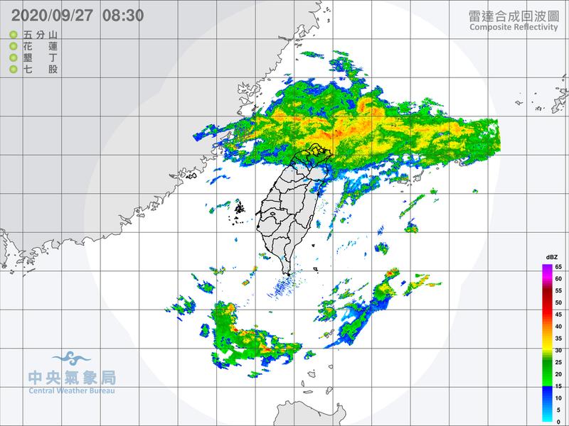 今、明兩天北部及東北部地區有陣雨,並有局部大雨發生的機率。圖/取自氣象局網站
