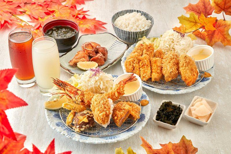 軟殼蝦盛合雙人套餐,每套979元。圖/銀座杏子豬排提供