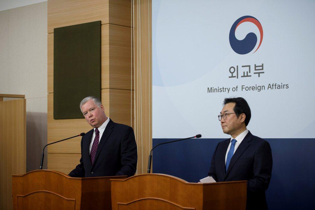 南韓外交與國安官員9月已三度訪問華府,圖為李度勳去年12月16日在首爾外交部大樓...