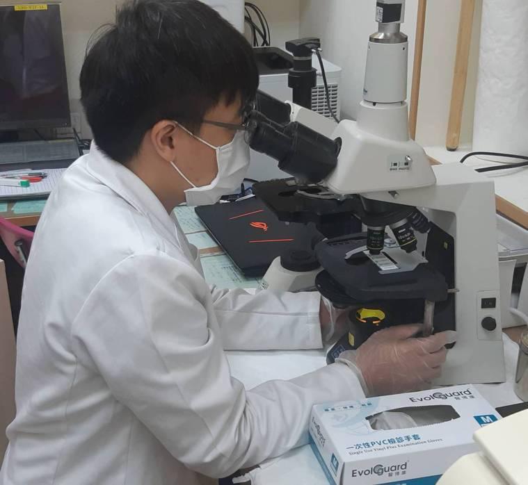 泌尿科精液檢查需要用到顯微鏡,操作顯微鏡時也要戴手套。記者邱宜君/攝影