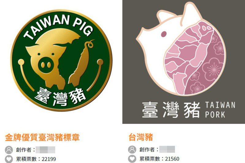 台灣豬標章徵選活動前兩名票數接近。圖/取自台灣豬識別標章徵選活動
