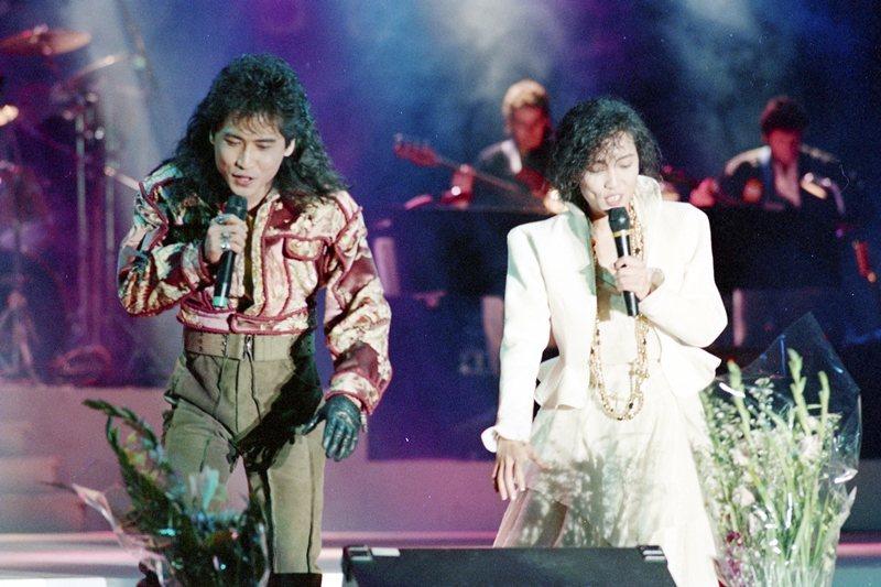 圖為齊豫與齊秦的「天使與狼」演唱會,攝於1988年。 圖/聯合報系資料照