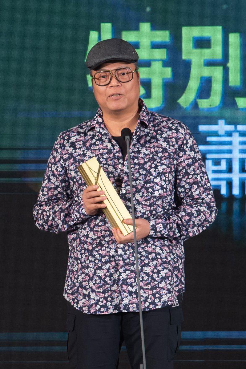 第11屆金漫獎頒獎典禮今天在台北文創會所舉行,特別貢獻獎由蕭言中獲獎。記者季相儒/攝影