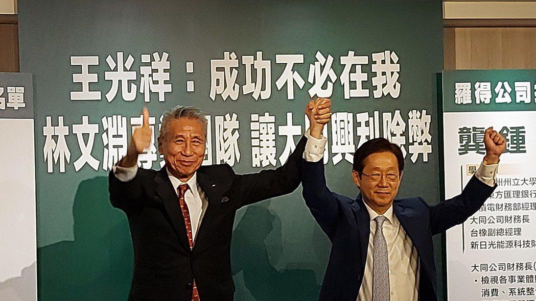 接受大同市場派代表王光祥(左)提名董事的東森電視暨台苯董事長林文淵(右)今(28...