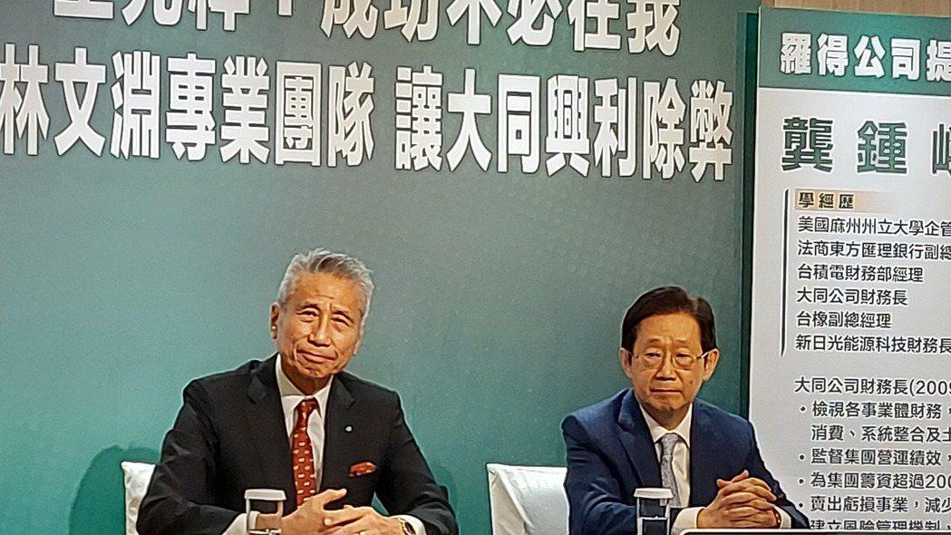 將在10月21日舉行股東臨時會的大同公司,市場派代表王光祥(左)今(28)日提名...