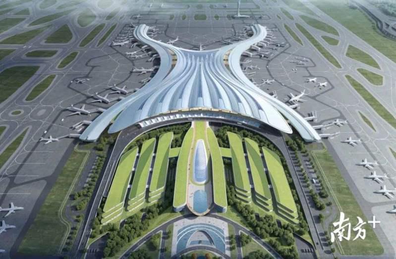 廣州白雲機場三期擴建工程,俯瞰如同一朵木棉花綻放,形成「羊城花冠」這一建築意象。(南方+)