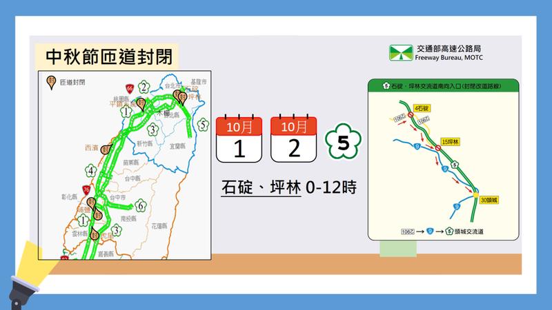 中秋節匝道封閉路段。圖/取自行政院網站
