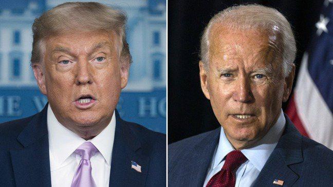 川普(左)和拜登(右)的第一場總統大選辯論會29日登場。 美聯社