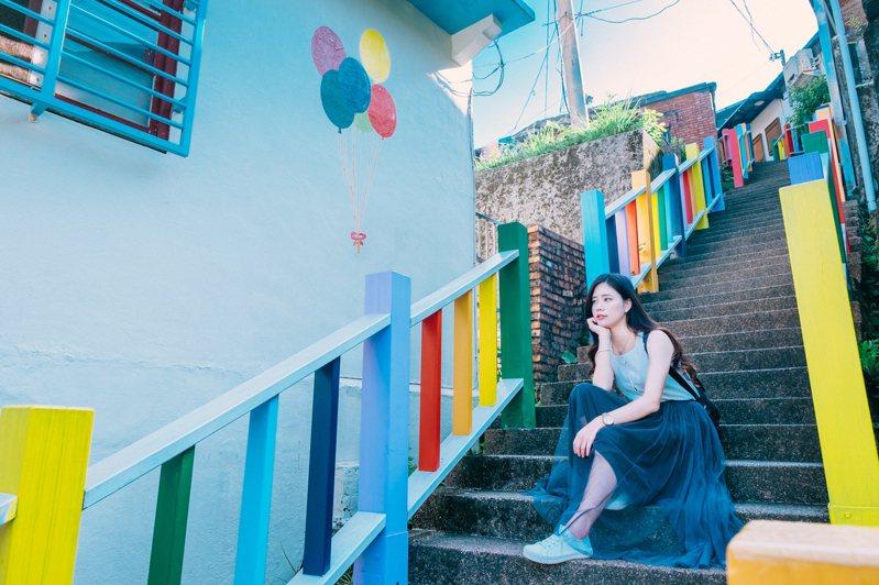 新北市瑞芳祈堂老街彩虹階梯。圖/觀旅局提供
