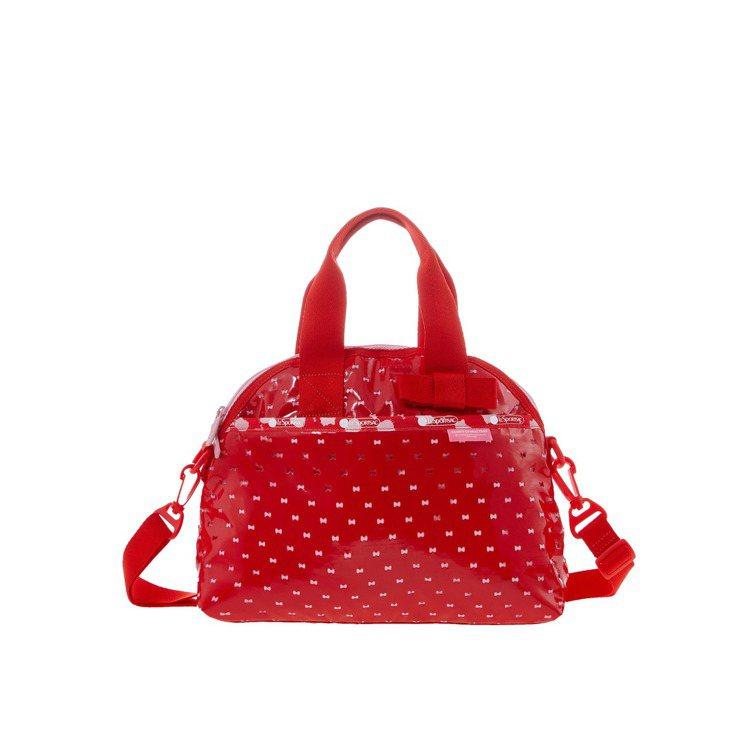 Hello Kitty時尚紅迷你蝴蝶結半圓手提包,5,500元。圖/LeSpor...