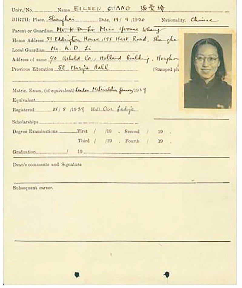 張愛玲百歲誕辰,母校香港大學展出她的學籍紀錄。(中央社)